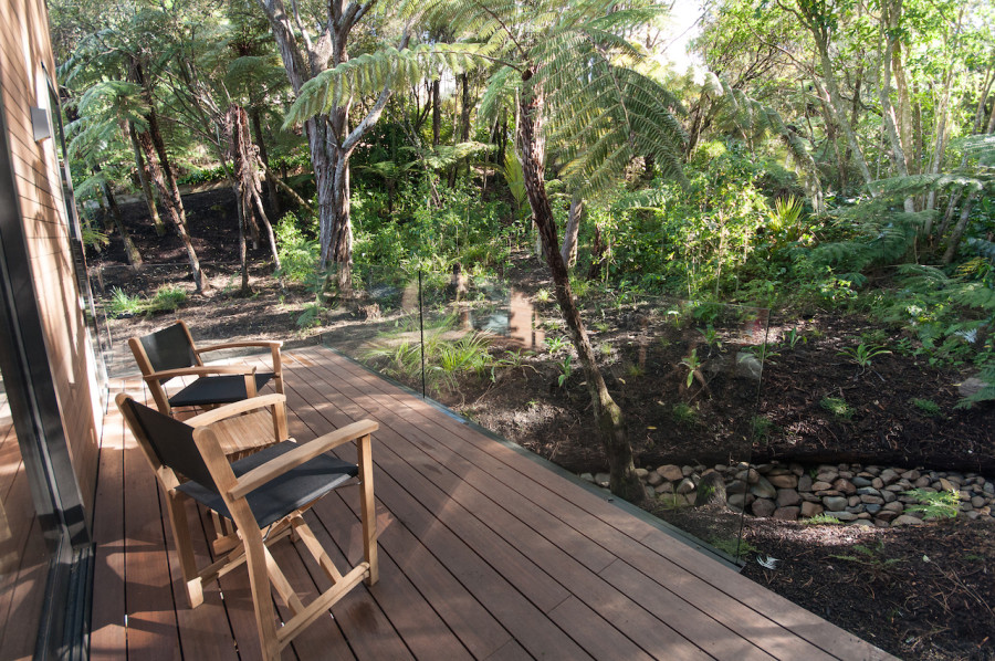 The deck behind our bedroom pod is such a tranquil spot to sit - listening to the birds and the trickling stream. But over the past year the Kanuakas have deposited a layer of blackness to the boards so I'm looking forward to testing out my Warehouse water-blaster on here to bring them back to new.
